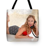 Pinup Girl On The Phone Tote Bag