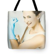 Pinup Housewife Flexing Muscles. Cleaning Strength Tote Bag