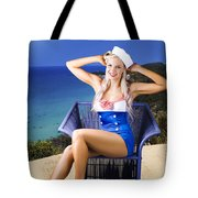 Pinup Woman On A Tropical Beach Travel Tour Tote Bag