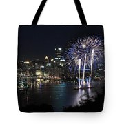 Pittsburgh Fireworks At Night Tote Bag
