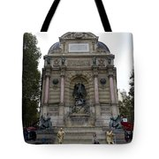 Place Saint-michel Statue And Fountain In Paris France Tote Bag