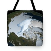 Planet Earth Showing Sea Ice Coverage Tote Bag