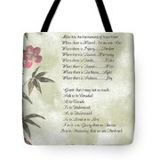 Pope Francis St. Francis Simple Prayer Butterfly Garden Tote Bag