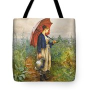 Portrait Of A Woman With Umbrella Gathering Water Tote Bag