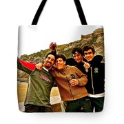 Portuguese Teens Wish A Happy New Year In Nazarre-portugal  Tote Bag