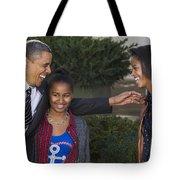 President Obama And Daughters Tote Bag