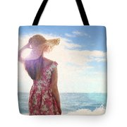 Pretty Young Woman Looking Out To Sea Tote Bag