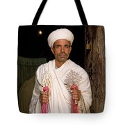 Priest At Ancient Rock Hewn Churches Of Lalibela Ethiopia Tote Bag