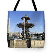 Public Fountain At The Place De La Concorde In Paris France Tote Bag