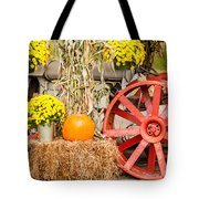 Pumpkins Next To An Old Farm Tractor Tote Bag
