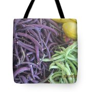 Purple And Green Beans Tote Bag