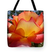 Rainbow Sorbet Rose Close Up Tote Bag by Denise Mazzocco