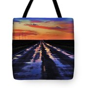 Rainy Highway Tote Bag by Benjamin Yeager