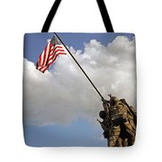Raising The American Flag Tote Bag