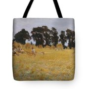 Reapers Resting In A Wheat Field Tote Bag