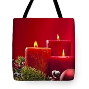 Red Advent Wreath With Candles Tote Bag
