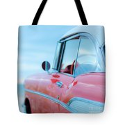 Red Chevy '57 Bel Air At The Beach Square Tote Bag by Edward Fielding