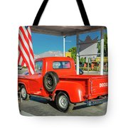Red Dodge Pickup Truck Parked In Front Tote Bag