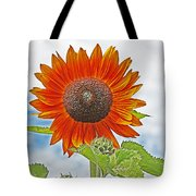 Red Face Sunflower At Olympia Tote Bag