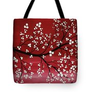 Red Japanese Cherry Blossom Tote Bag
