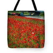 Red Poppy Field Near Highway Road Tote Bag