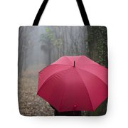 Red Umbrella In The Forest Tote Bag