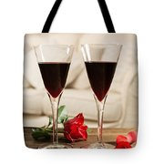 Red Wine And Roses Tote Bag