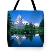 Reflection Of A Snow Covered Mountain Tote Bag