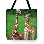Reticulated Giraffe Calf With Mother Tote Bag