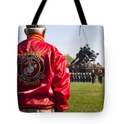 Retired Marine Paying Respect Tote Bag