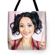 Retro Asian Girl Gesturing Peace Love And Hope Tote Bag