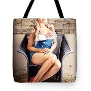 Retro Blond Beach Pinup Model With Elegant Look Tote Bag