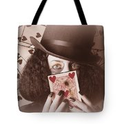 Retro Magician Holding Burnt Playing Card Tote Bag
