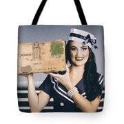 Retro Maritime Portrait. Woman In Sailor Fashion Tote Bag