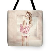 Retro Pin Up Woman Carrying Vintage Shopping Bag Tote Bag