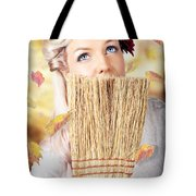 Retro Pinup Girl Doing Spring Clean Tote Bag