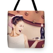 Retro Pinup Girl Holding Food And Drinks Tray Tote Bag
