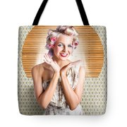Retro Woman At Beauty Salon Getting New Hair Style Tote Bag