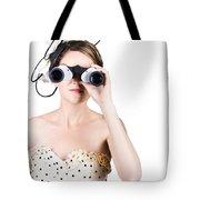 Retro Woman Looking Through Binoculars Tote Bag