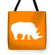 Rhino In Orange And White Tote Bag
