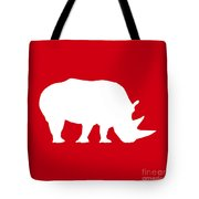 Rhino In Red And White Tote Bag