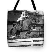 Rider Jumps At Horse Show Tote Bag