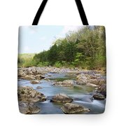 River Flowing Through Rocks, Black Tote Bag