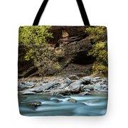 River Flowing Through Rocks, Zion Tote Bag