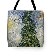 Road With Cypresses Tote Bag