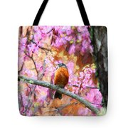 Robin In A Red Bud Tree Tote Bag