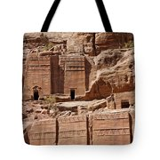 Rock Cut Tombs On The Street Of Facades Petra Jordan Tote Bag by Robert Preston