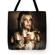 Romantic Blonde Woman Holding The Light Of Love Tote Bag