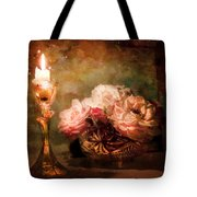 Roses By Candlelight Tote Bag