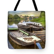 Rowboats On The French Canals Tote Bag by Debra and Dave Vanderlaan